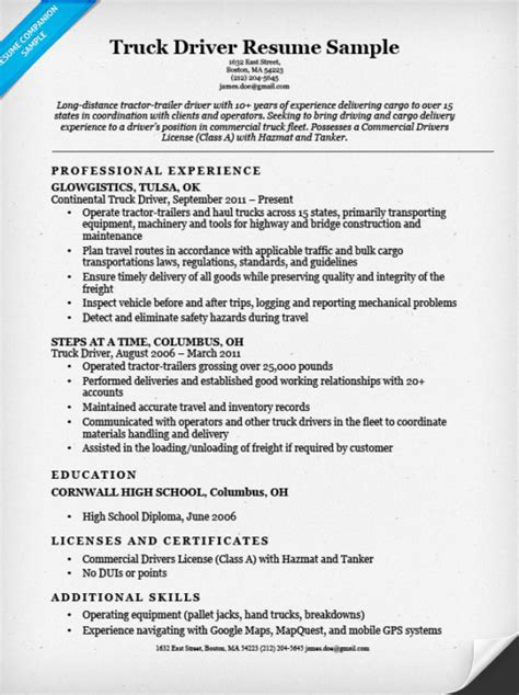 Truck Driver Resume Sample  Resume Companion. Linkedin To Resume. Professional Business Resume. What Are Some Job Skills To Put On A Resume. Resume Synonyms. Define Resum. Supply Chain Management Resume Examples. Resume For New Graduate. Deckhand Resume
