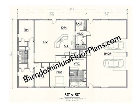 Make A House Plan by Gallery Barndominium Plan 50x80 4bd 2 5ba Level 1 Lake