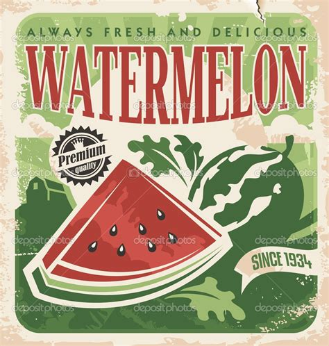 affiche cuisine vintage vintage poster template for watermelon farm stock vector