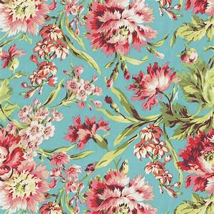 Coral and Teal Floral Fabric by the Yard Coral Fabric