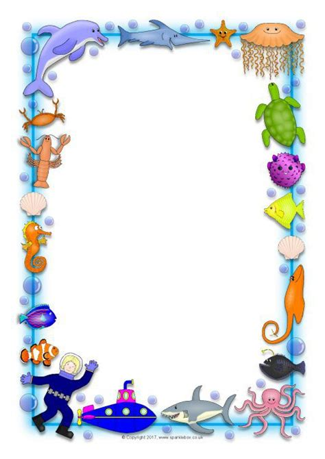 ocean themed  page borders  sb sparklebox