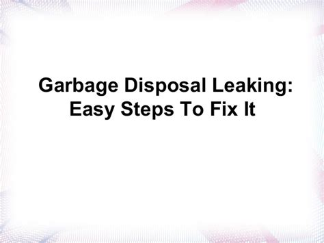Garbage Disposal Leaking From Reset Button by Garbage Disposal Leaking Easy Steps To Fix It