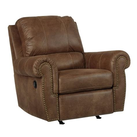 burnsville faux leather rocker recliner in espresso