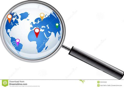 le avec loupe integree carte du monde avec la loupe illustration de vecteur image 50444424