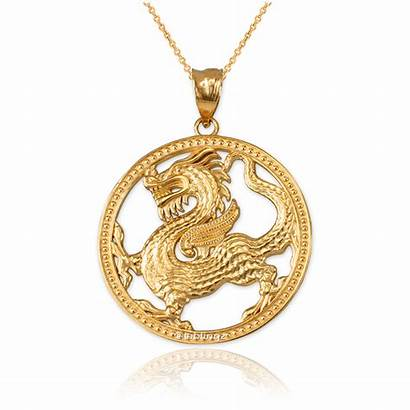 Dragon Medallion Chinese Pendant Necklace Open Yellow
