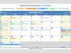 September 2019 Calendar With Holidays 2018 calendar