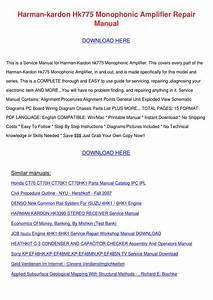 Harman Kardon Hk775 Monophonic Amplifier Repa By Jimmie