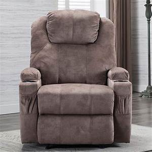 Manual Recliner Chair With 2cup Holder Fabric Ergonomic