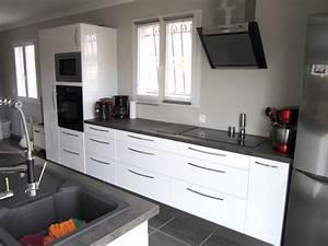 cuisine quipe blanc laqu cuisine blanc laque et bois With cuisine equipee blanc laque