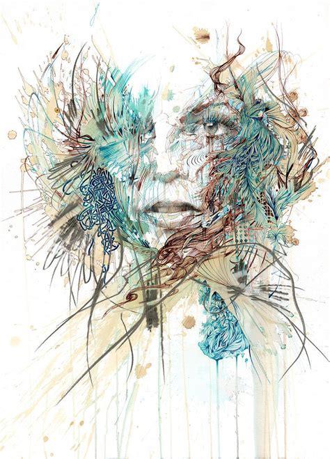 emotive abstract portraits   tea alcohol blend