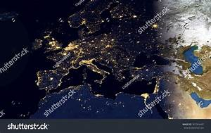 Europe Night Space View High Resolution Stock Illustration ...