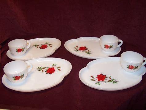 Snack Plate, Teacup, Rosecrest Milk Glass, Federal Glass