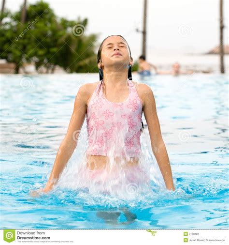 Girl Jumps Out From The Swimming Pool Stock Image Image