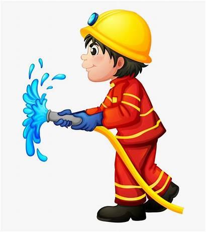 Fireman Clipart Cartoon Fire Sam Firefighter Hose