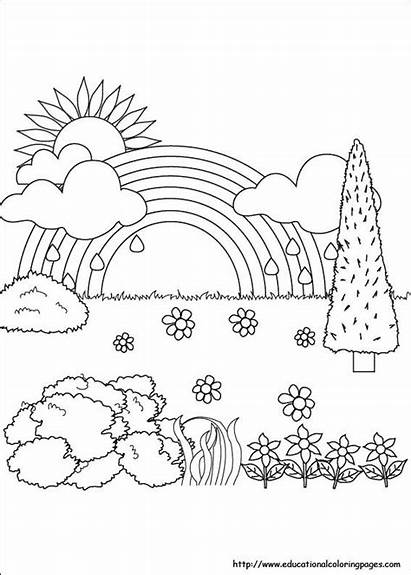 Nature Coloring Pages Spring Coloriage Printable Easy