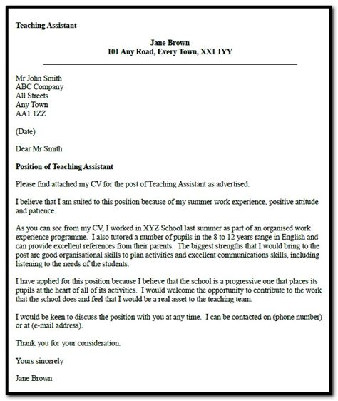 sle cover letter sle cover letter for teaching assistant 28 images sle