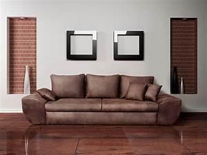 Günstige Big Sofa : big sofa mit schlaffunktion und bettkasten im vintage look braun r ckenecht bezogen mit ~ Frokenaadalensverden.com Haus und Dekorationen