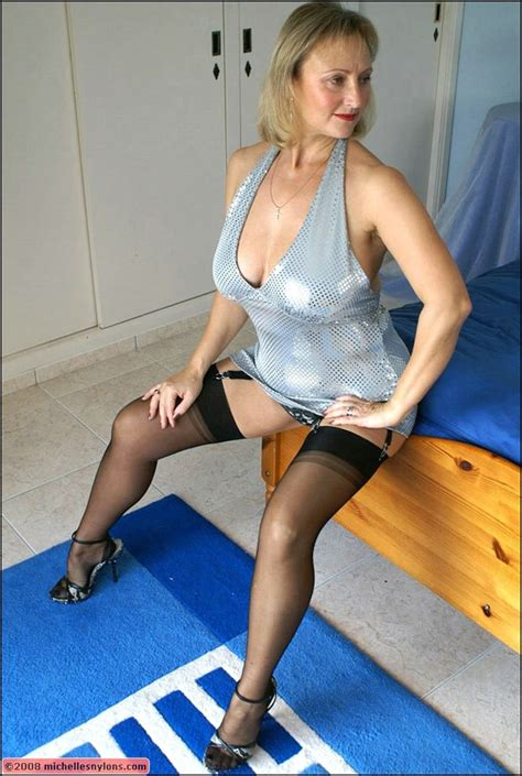 Beautiful Blonde Mature Fatty Shows Off Her Legs Covered