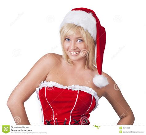Santa Claus With Maiden In Bright Clothes Stock Smiling In Santa Claus Clothes Stock Image