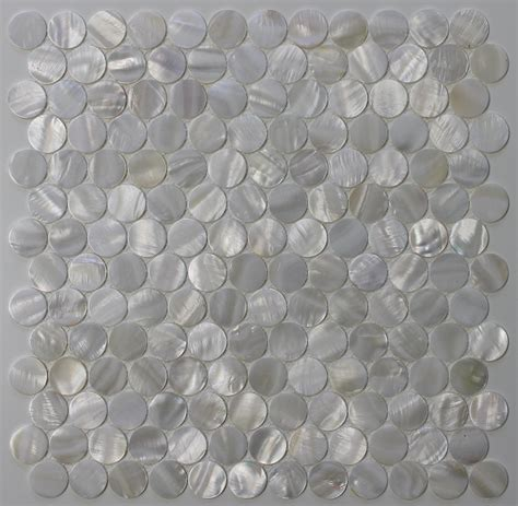of pearl oyster white 1 inch circle mosaic tiles