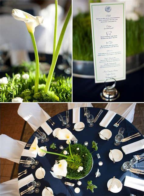 reception table idea navy blue green white navy blue