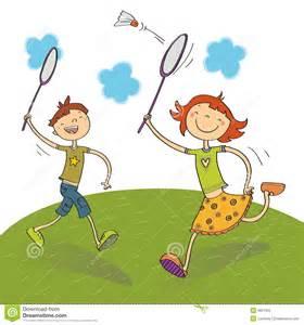 Playing Badminton Clip Art