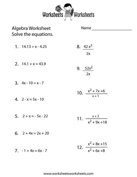 Algebra Practice Worksheet Printable  Algebra Worksheets  Pinterest  Algebra, Worksheets And