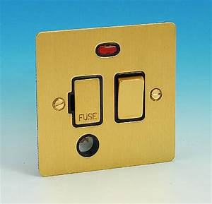 13 Amp Switched Spur Neon Flex Outlet Brushed Brass