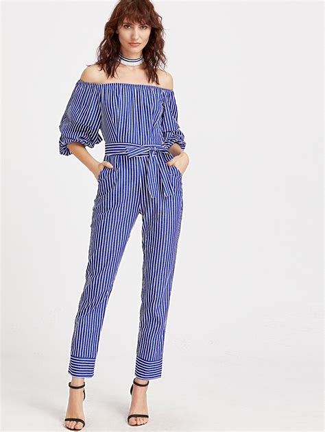 blue striped billaboo jumpsuit