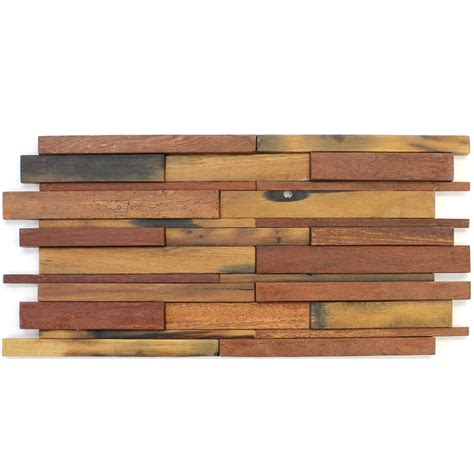 Holz Mosaik Fliesen by Wood Mosaic Tiles 30x60cm Brown Mix Lacquered