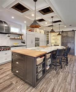 cuisine rouge avec ilot central maison design bahbecom With cuisine americaine avec ilot central