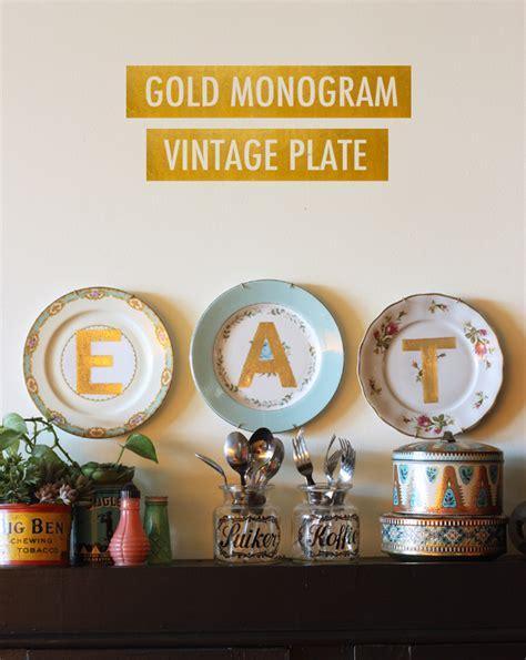 hometalk gold monogram vintage plates