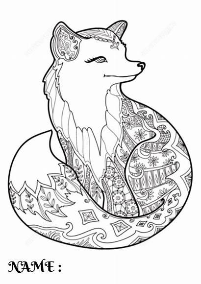 Fox Coloring Cartoon Mandala Animal Printable Special