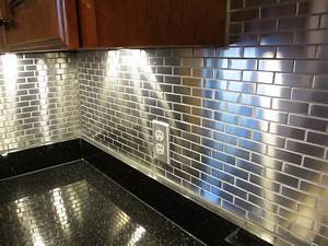 Metal tiles backsplash tile design ideas for Metal tile backsplash ideas