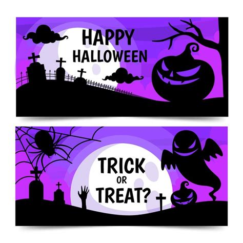 Halloween banner vectors and psd free download. Flat design halloween banners template | Free Vector