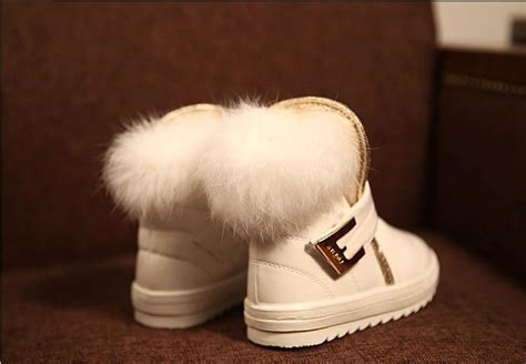 children boots fashion fur baby girls snow boots waterproof leather booties female