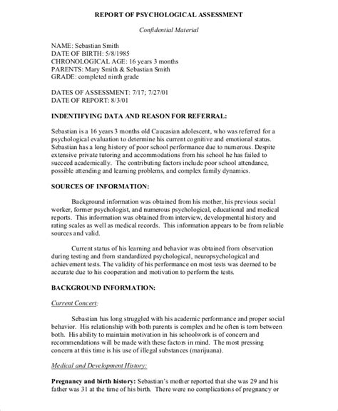 psychiatric evaluation template 9 sle psychological reports pdf word pages sle templates