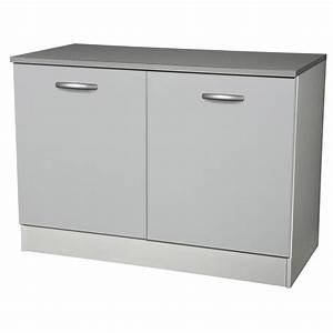 Meuble Cuisine Leroy Merlin : meuble de cuisine bas 2 portes gris aluminium h86x l120x ~ Melissatoandfro.com Idées de Décoration