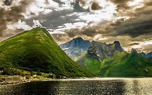 summer, landscape, green, norwegian, mountains, rocky, peaks, lake, hd, desktop, wallpaper, 5200x3250