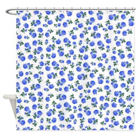 blue flowers pattern shower curtain by inspirationzstore