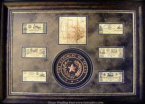 Framed Republic of Texas Seal and Republic of Texas Money