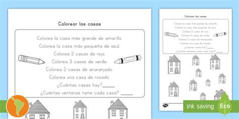 * New * Ficha De Actividad Colorear Las Casas Lectura
