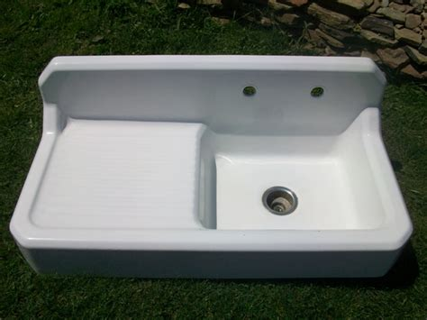 Vintage Single Basin Left Side Drainboard Porcelain Over