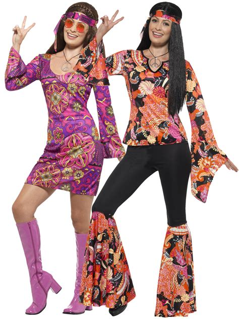 Ladies Hippie Hippy Flares + Top Costume Adult 60s 70s Fancy Dress Womens Outfit