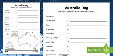 australia day alphabet ordering activity sheet