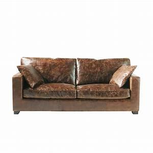 canape 3 places en cuir marron stanford matieresbrutes With canape cuir marron style industriel