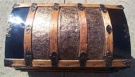 restored metal  wood dome top antique trunks