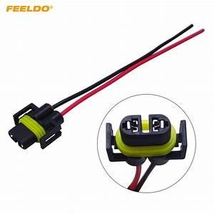 Feeldo 1pc H11 Female Adapter Wiring Harness Sockets Car