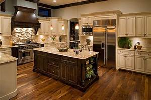 cherry stained cabinets kitchen traditional with light