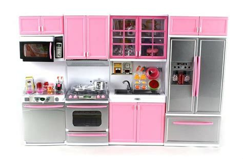 Kitchen Play Set by Deluxe Pink Modern Kitchen Battery Operated